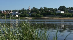 View on small russian town from other riverside Stock Footage