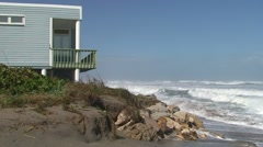 Rough Surf Oceanfront Home Stock Footage