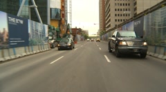 Drive plate, downtown with light traffic #7 overcast, lane changes Stock Footage