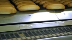 Hot Bread From The Industrial Oven Stock Footage