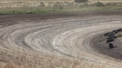 Stock car race dirt track corner away slow P HD 9345 Stock Footage