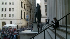 Timelapse steps of Federal Hall on Wall Street Stock Footage