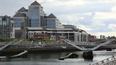 Financial Buildings in Dublin City Centre Stock Footage