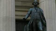 Steaming George Washington statue, Wall St Stock Footage