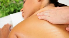 Female Having Massage Therapy at Health Spa Stock Footage