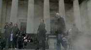 Steaming Federal Hall, Wall St Stock Footage