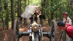 American Civil War soldiers charging cannon and being blown away Stock Footage