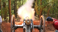 American Civil War Cannon fires at night Stock Footage