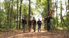 American Civil War Union soldiers charge towards unseen enemy Stock Footage