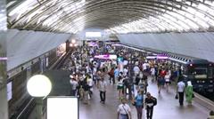 Sadovaya, train arrival, St. Petersburg, Russia Stock Footage