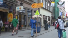 Publicity agent in Old Town, Krakow, Poland Stock Footage