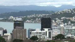 Zoom Out Wellington City, New Zealand Stock Footage