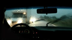 driving in storm - stock footage