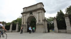 St. Stephens Green Gate Dublin Stock Footage