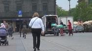 Ambulance taking a woman Stock Footage
