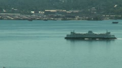 Ferry coming into port Stock Footage