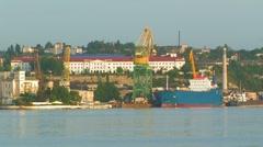 Industrial vessel. Seaport. Stock Footage
