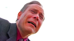 Desperate, Anguished Middle Aged Man In Suit Crying CU - stock footage