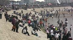 Busy seafront in during labor day in Qingdao, China Stock Footage