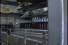 Beer Bottle Manufacturing Machine Lift at Brewery Stock Footage