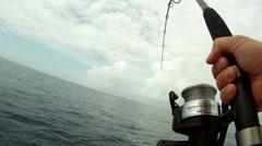 Fighting Fish Reeling POV 2 Stock Footage