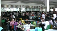 Stock Video Footage of China, school cafetaria, university, canteen, eating food, education, Chinese