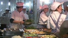 Chinese school cafetaria, workers, prepare, lunch, university, China Stock Footage