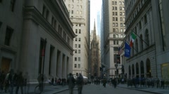 Timelapse, Wall Street District (slow zoom out) Stock Footage