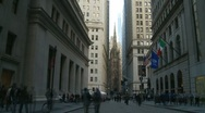 Stock Video Footage of Timelapse, Wall Street District (slow zoom out)