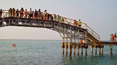 Bridge up the Sea of Tidung Island Jakarta Stock Footage