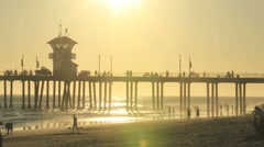 Huntington Pier Sunsetting Stock Footage