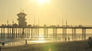 Stock Video Footage of Huntington Pier Sunsetting