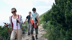 Three friends hiking in the mountains Stock Footage