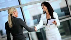 Smart Businesswomen with Wireless Tablet Stock Footage
