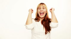 Cheering woman with clenched fists Stock Footage