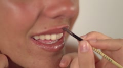 Beautiful model face make up shooting Stock Footage