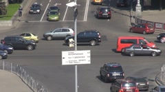 Road crossing Square independence Kiev Ukraine traffic street aerial view car Stock Footage
