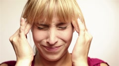 Woman with headache Stock Footage