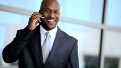 African American Businessman Outdoors with Smartphone Stock Footage