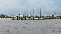 Sailboats Docked In Tampa Bay Sea Basin Stock Footage