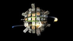 Globe building loop with planes Stock Footage