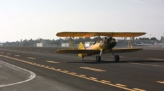 Bi-Plane Taxis at Airport Stock Footage