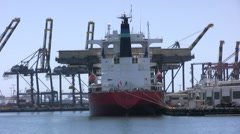 Bulk Cargo Ship Moored At Pier Stock Footage
