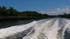 Boat's Wake in river/water channel 4 Stock Footage