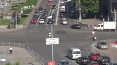 Road crossing in Square of independence, Kiev, Ukraine Stock Footage