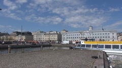 City Hall Market square Helsinki harbour day boat ship port bay Helsinki Finland - stock footage