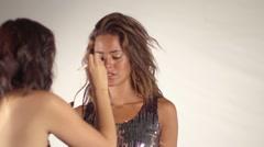 Beautiful model make up backstage Stock Footage