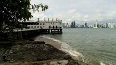 Panama oldtown modern skyline in background Stock Footage