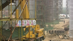 Warning signs at Chinese building site Stock Footage