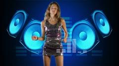 Beautiful girl dancing giant speakers Stock Footage